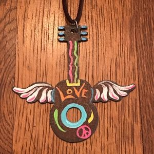 Peace Love Guitar necklace